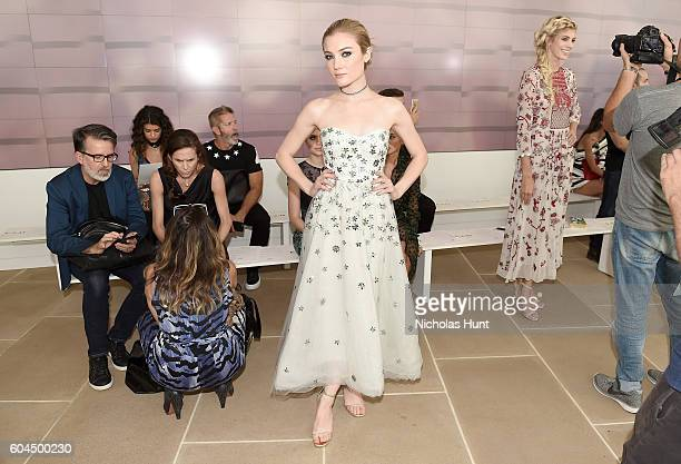 Actress Jaime King attends the Monique Lhuillier fashion show during New York Fashion Week September 2016 at The IAC Building on September 13 2016 in...