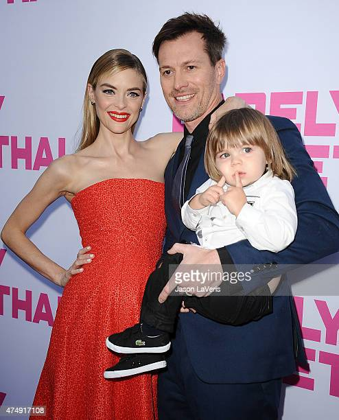 Actress Jaime King husband Kyle Newman and son James Knight Newman attend the premiere of Barely Lethal at ArcLight Hollywood on May 27 2015 in...