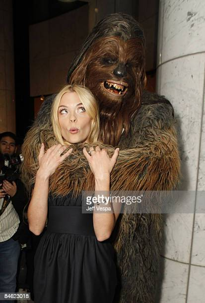Actress Jaime King poses with Chewbacca at the 'Fanboys' special screening hosted by Gen Art on February 3 2009 in Los Angeles California