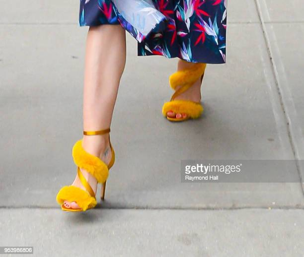 Actress Jaime King shoe detail is seen walking in Soho on May 2 2018 in New York City