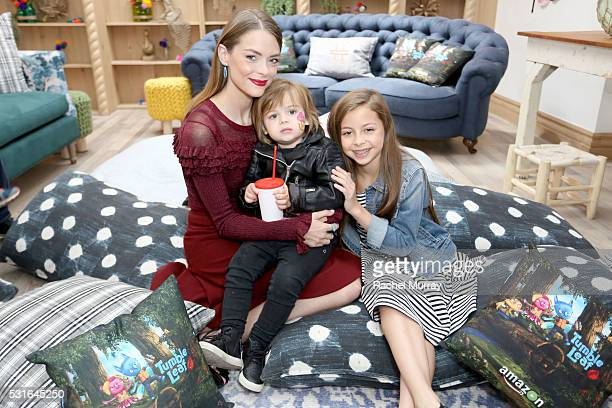 Actress Jaime King son James Knight Newman and friend attend Amazon Original Series Tumble Leaf season two celebration on May 15 2016 in Los Angeles...