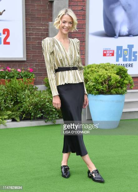 Actress Jaime King walks the carpet at the 'The Secret Life of Pets 2' Los Angeles Premiere at Regency Village Theatre in Westwood, California, on...