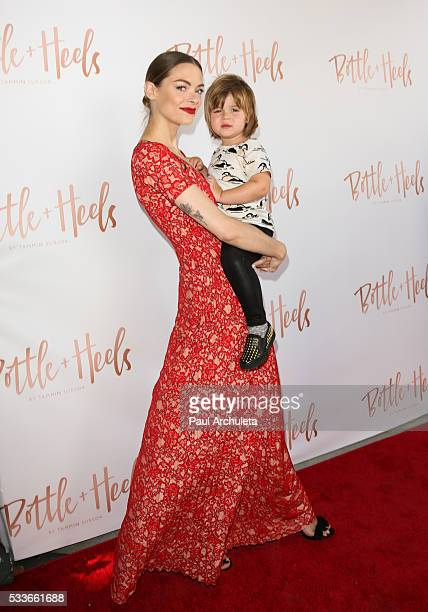 Actress Jaime King with he Son James Knight Newman attend the launch of Bottle And Heels charity event on May 22 2016 in Los Angeles California