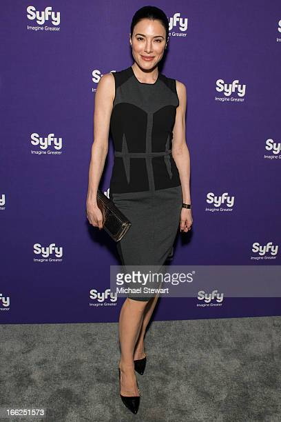 Actress Jaime Murray attends the 2013 Syfy Upfront at Silver Screen Studios at Chelsea Piers on April 10, 2013 in New York City.