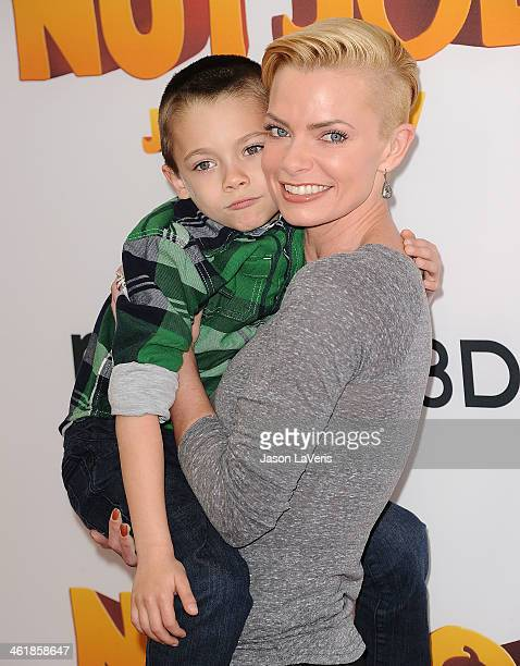 Actress Jaime Pressly and son Dezi James Calvo attend the premiere of 'The Nut Job' at Regal Cinemas LA Live on January 11 2014 in Los Angeles...