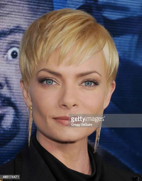 Actress Jaime Pressly arrives at the Los Angeles premiere of 'A Haunted House 2' at Regal Cinemas LA Live on April 16 2014 in Los Angeles California