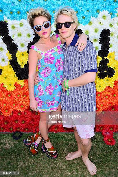 Actress Jaime Winstone and Alfie Allen attends REVOLVEclothing's VIP Festival Event Day 2 at The Saguaro Palm Springs on April 14 2013 in Palm...