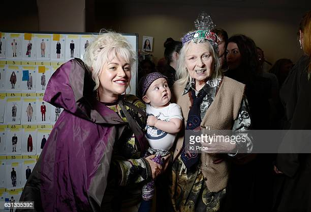 Actress Jaime Winstone and son Raymond pose with Vivienne Westwood backstage after the Vivienne Westwood show during London Fashion Week Men's...