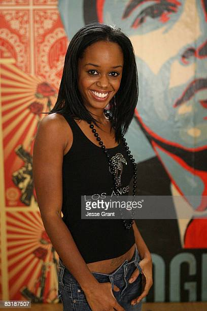 Actress Jaimee Foxworth attends Shepard Fairey's Vote For Change shoot at Subliminal Projects gallery on October 7 2008 in Los Angeles California
