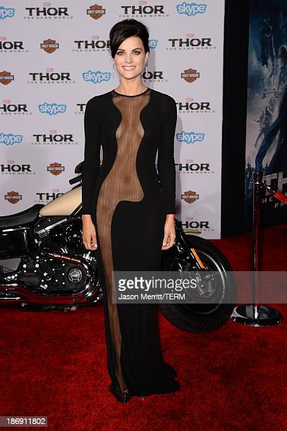 Actress Jaimie Alexander arrives at the premiere of Marvel's Thor The Dark World at the El Capitan Theatre on November 4 2013 in Hollywood California