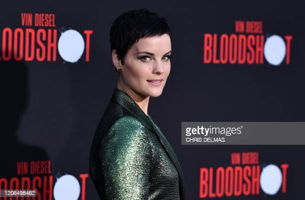 """Actress Jaimie Alexander arrives for the premiere of Sony's """"Bloodshot"""" at the Regency Village theatre on March 10, 2020 in Westwood, California."""