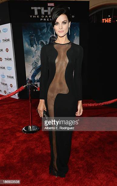 Actress Jaimie Alexander attends Marvel's Thor The Dark World Premiere at the El Capitan Theatre on November 4 2013 in Hollywood California