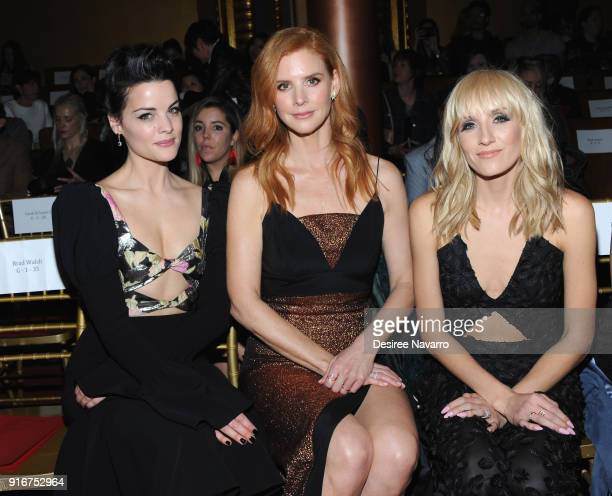 Actress Jaimie Alexander Sarah Rafferty and Nastia Liukin attend the Christian Siriano fashion show during New York Fashion Week at the Grand Lodge...