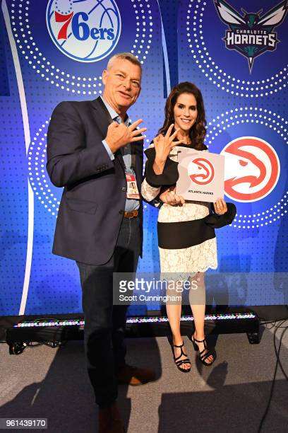 Actress Jami Gertz and Owner of the Atlanta Hawks Antony Ressler poses for after the NBA Draft Lottery on May 15 2018 at The Palmer House Hilton in...