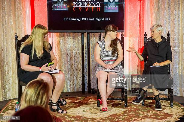 Actress Jamie Brewer and costume designer Lou Eyrich in celebration of the 'American Horror Story Coven' BluRay and DVD October 7th release at...