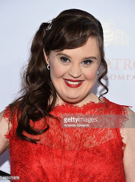 Actress Jamie Brewer arrives at the MakeUp Artists Hair Stylists Guild Awards at the Paramount Theater on the Paramount Studios lot on February 14...