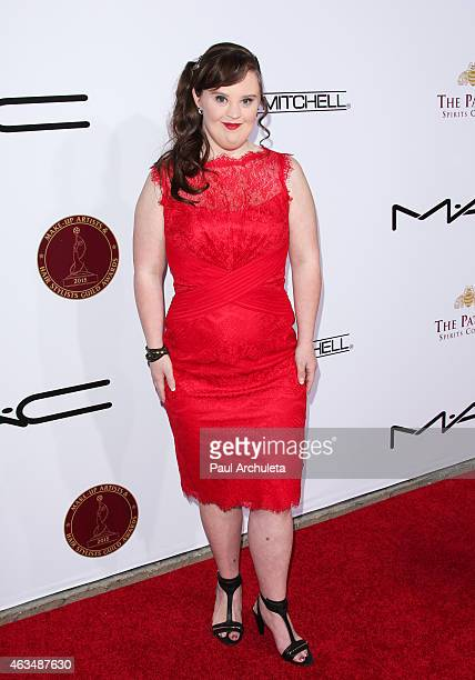 Actress Jamie Brewer attends the MakeUp Artists Hair Stylists Guild Awards at The Paramount Theater on the Paramount Studios lot on February 14 2015...