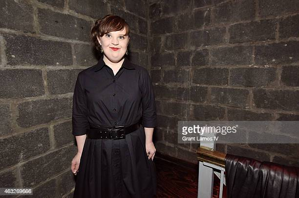 Actress Jamie Brewer backstage at Role Models Not Runway Models show during MercedesBenz Fashion Week Fall 2015 on February 12 2015 in New York City