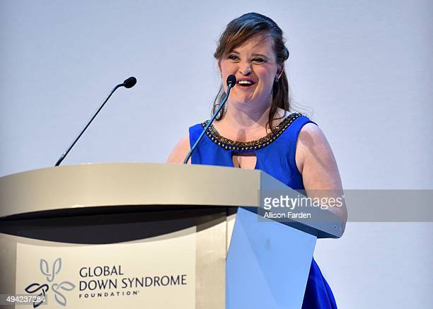 Actress Jamie Brewer speaks at the podium at 'Be Beautiful Be Yourself' Global Down Syndrome Foundation Fashion Show 2015 held at Colorado Convention...