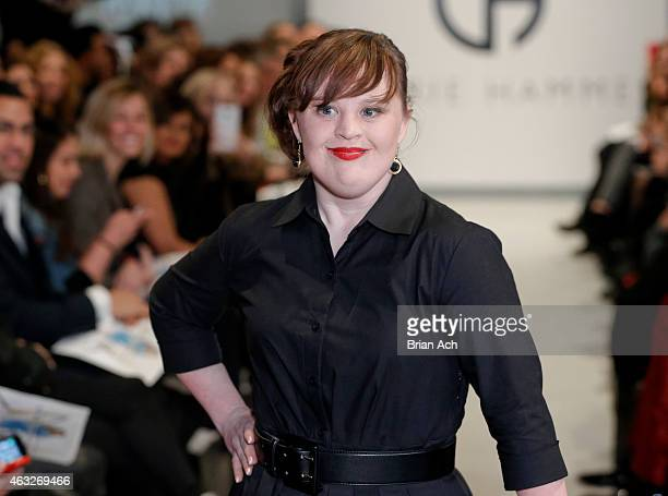 Actress Jamie Brewer walks the runway during the Role Models Not Runway Models Carrie Hammer Runway MercedesBenz Fashion Week Fall 2015 at Lightbox...
