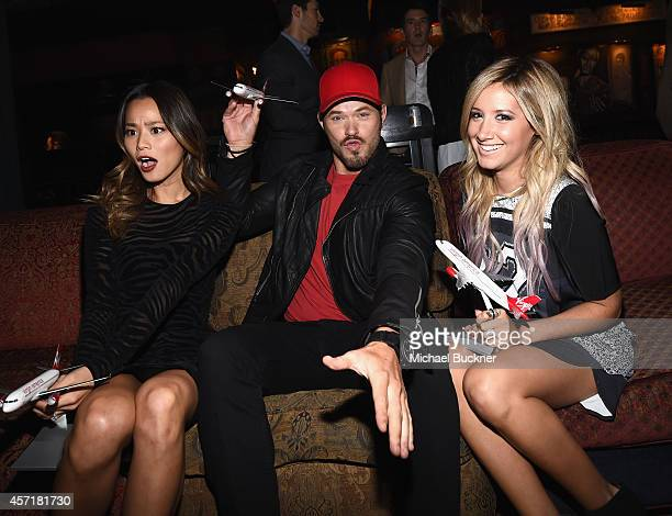 Actress Jamie Chung actor Kellan Lutz and actress Ashley Tisdale attend the Virgin America Dallas Love Field Launch Celebration at the House of Blues...
