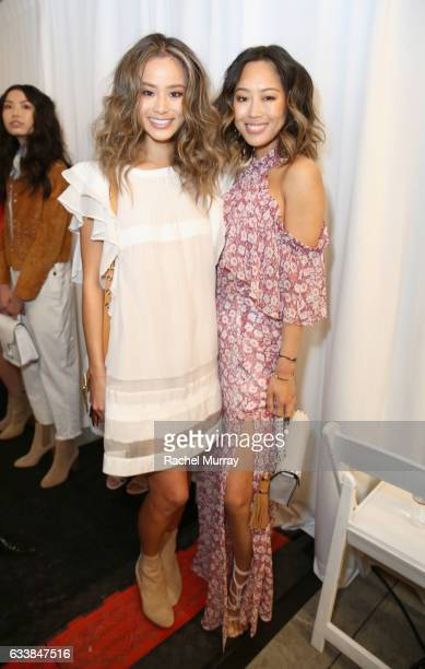 "Actress Jamie Chung and Aimee Song attended designer Rebecca Minkoff's Spring 2017 ""See Now, Buy Now"" Fashion Show at The Grove on February 4, 2017..."
