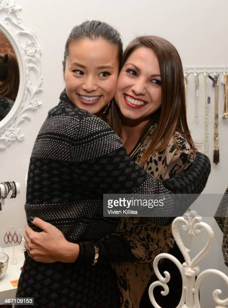 Actress Jamie Chung and founder of Simply Stylist Sarah Boyd attend Sarah Boyd x CapwellCo Jewelry Collaboration NYFW Launch on February 5 2014 in...