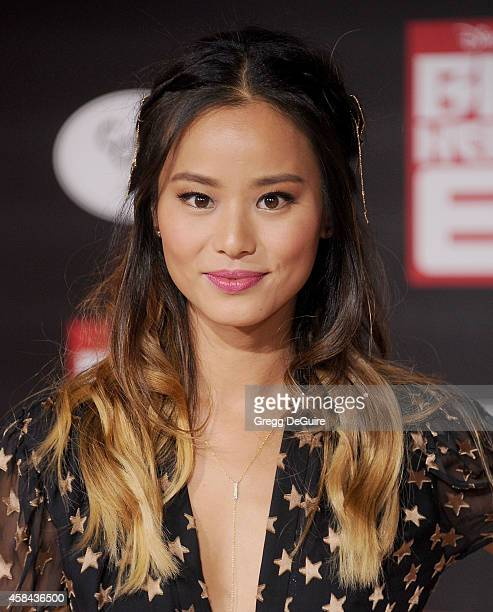 Actress Jamie Chung arrives at the Los Angeles premiere of Disney's Big Hero 6 at the El Capitan Theatre on November 4 2014 in Hollywood California