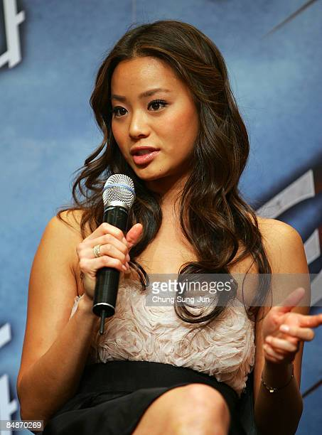 Actress Jamie Chung attends the 'Dragonball Evolution' press conference at the Shilla Seoul on February 18 2009 in Seoul South Korea The film will...