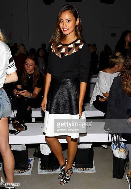 Actress Jamie Chung attends the Karigam fashion show during Spring 2016 New York Fashion Week: The Shows at The Gallery, Skylight at Clarkson Sq on...