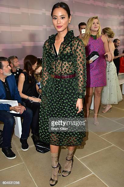 Actress Jamie Chung attends the Monique Lhuillier Front Row Backstage September 2016 New York Fashion Week Show at the IAC Building on September 13...