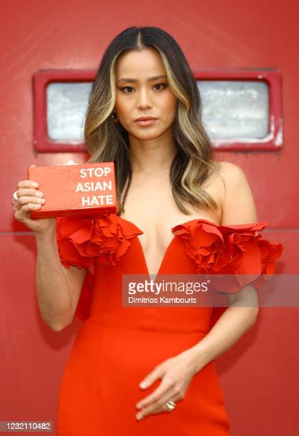 Actress Jamie Chung is seen in her award show look for the 27th Annual Screen Actors Guild Awards on March 31, 2021 in New York City. Due to COVID-19...