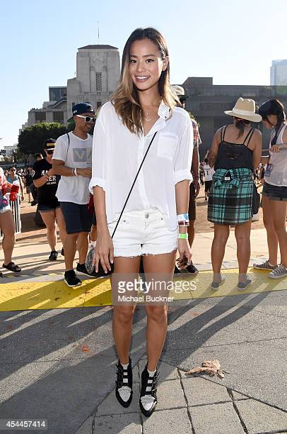 Actress Jamie Chung wearing American Eagle denim attends American Eagle Outfitters Celebrates The Budweiser Made in America Music Festival during day...
