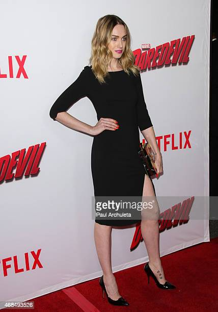 Actress Jamie Clayton attends the premiere of Marvel's Daredevil at Regal Cinemas LA Live on April 2 2015 in Los Angeles California