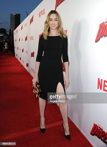 Actress Jamie Clayton attends the Premiere of Netflix's Marvel's Daredevil at Regal Cinemas LA Live on April 2 2015 in Los Angeles California