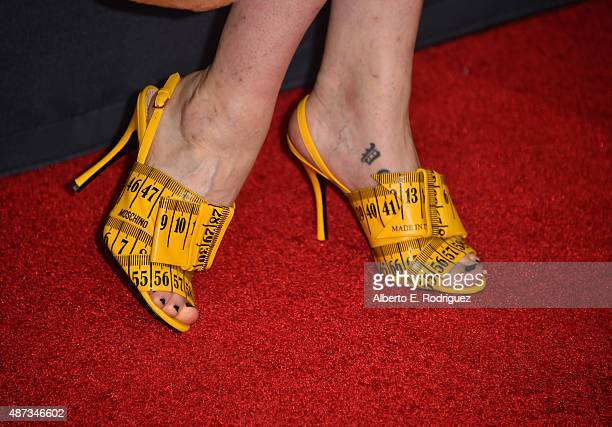 Actress Jamie Clayton fashion detail attends the premiere of The Vladar Company's Jeremy Scott The People's Designer at TCL Chinese 6 Theatres on...