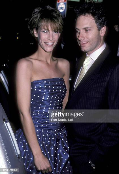 """Actress Jamie Lee Curtis and actor/writer Christopher Guest attend the """"Perfect"""" New York City Premiere on May 29, 1985 at the Coronet Theater in New..."""