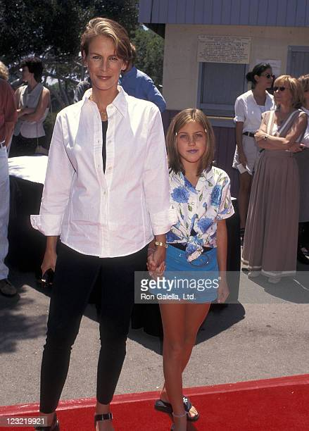Actress Jamie Lee Curtis and actress Annie Guest attend the 'House Arrest' Westwood Premiere on July 20 1996 at Wadsworth Theatre in Westwood...