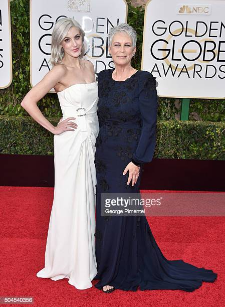 Actress Jamie Lee Curtis and Annie Guest attend the 73rd Annual Golden Globe Awards held at the Beverly Hilton Hotel on January 10 2016 in Beverly...