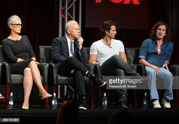 Actress Jamie Lee Curtis and cocreators/executive producers/writers/directors Ryan Murphy Brad Falchuk and Ian Brennan speak onstage during the...