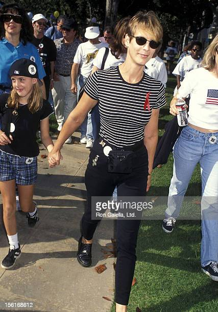 Actress Jamie Lee Curtis and daughter Annie Guest attend the Caring for Babies with AIDS' Fifth Annual StrollAThon on November 12 1995 at Roxbury...