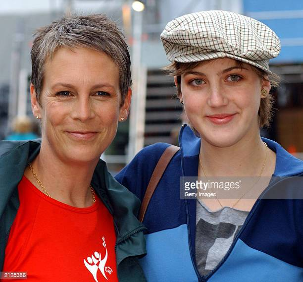 Actress Jamie Lee Curtis and her daughter Anne attend the closing ceremony of The 11th Special Olympic World Summer Games at Croke Park June 29 2003...