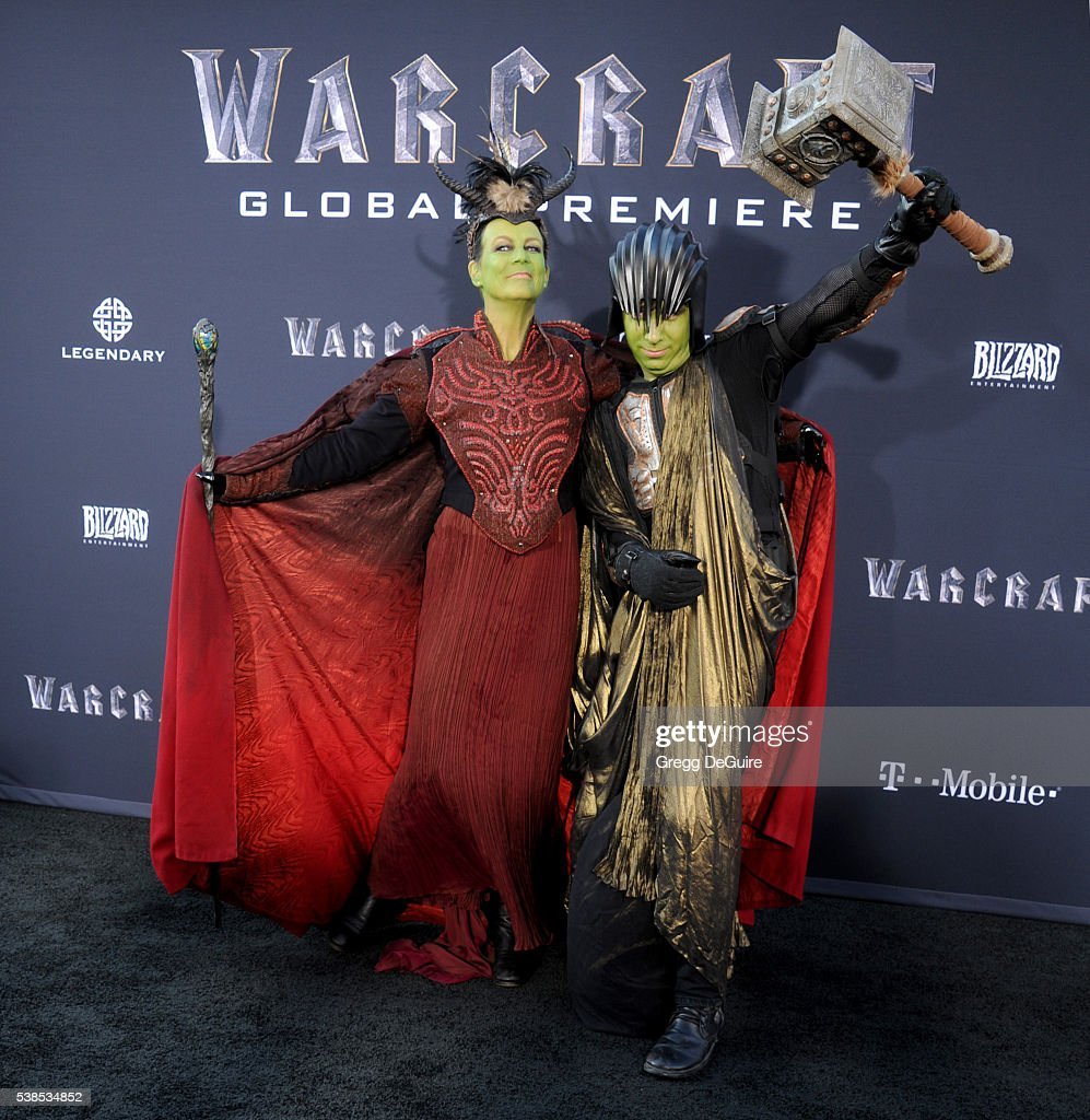 Actress Jamie Lee Curtis and son Thomas Guest arrive at the premiere of Universal Pictures' 'Warcraft' at TCL Chinese Theatre IMAX on June 6, 2016 in Hollywood, California.