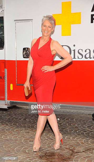 Actress Jamie Lee Curtis arrives at the American Red Cross Annual Red Tie Affair at the Fairmont Miramar Hotel on April 21 2012 in Santa Monica...