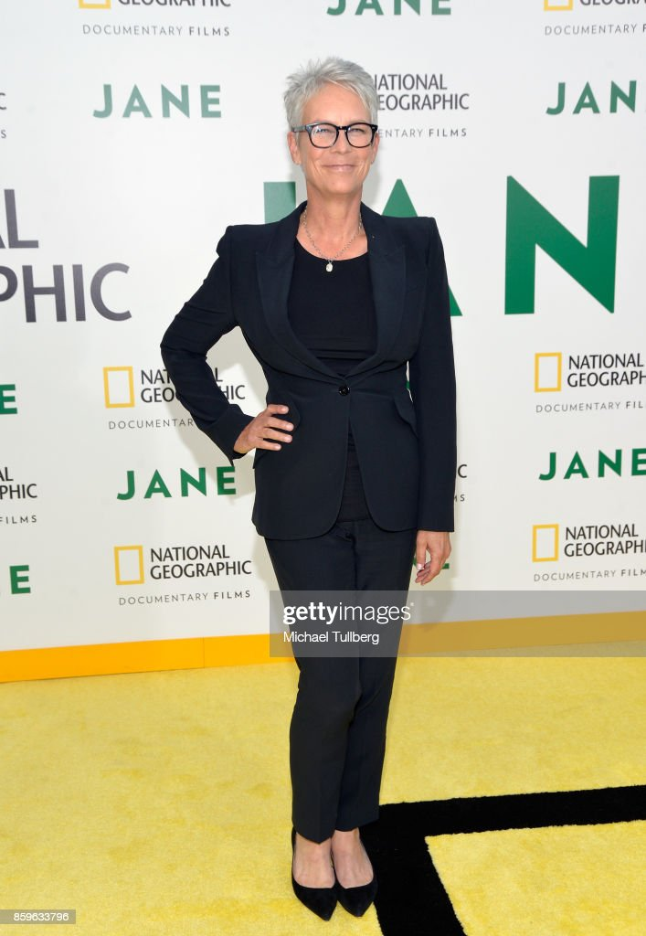 Actress Jamie Lee Curtis arrives at the premiere of National Geographic Documentary Films' 'Jane' at the Hollywood Bowl on October 9, 2017 in Hollywood, California.