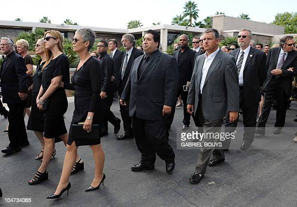 Actress Jamie Lee Curtis attends the funeral of her father Hollywood legend Tony Curtis at the Palm Mortuary and Cemetery Green Valley in Las Vegas...