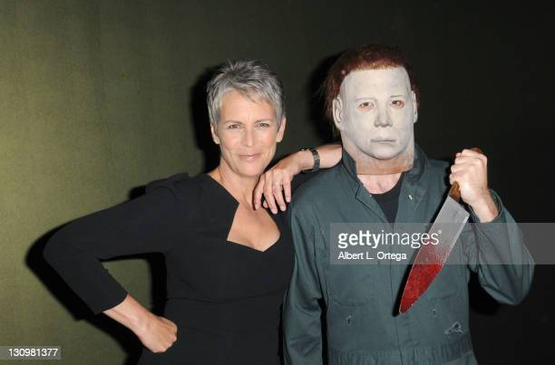 Actress Jamie Lee Curtis poses backstage with Michael Myers at the sCare Foundation's 1st Annual Halloween Launch Benefit held at The Conga Room at...