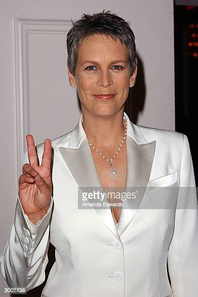 Actress Jamie Lee Curtis poses during the 6th Annual Costume Guild Awards on February 21 2004 in the International Ballroom at the Beverly Hilton...