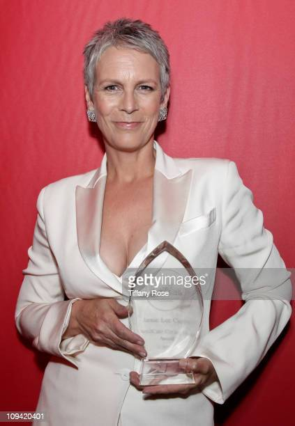 Actress Jamie Lee Curtis receives the Dare2Care Empowerment award at the Leeza Gibbon's Dare 2 Care Benefit at BOA Steakhouse on February 24 2011 in...