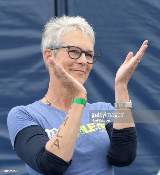 Actress Jamie Lee Curtis speaks onstage during the Nautica Malibu Triathlon at Zuma Beach on September 17 2017 in Malibu California
